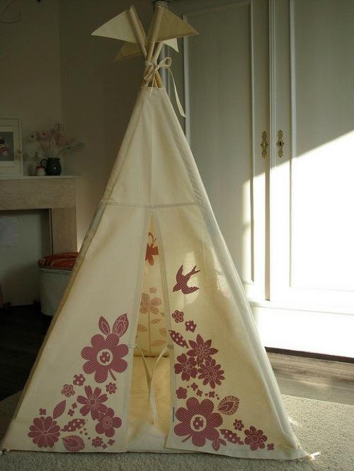 indoor zelt camping weiß idee floral muster