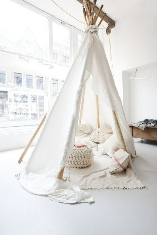 indoor zelt camping weiß idee indianer