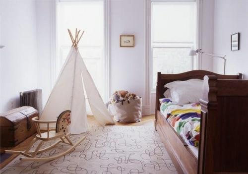 originelle  zelt camping weiß idee kinderzimmer