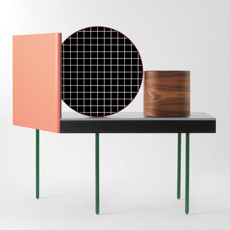 innovatives schminktisch design holz stücke geometrische formen