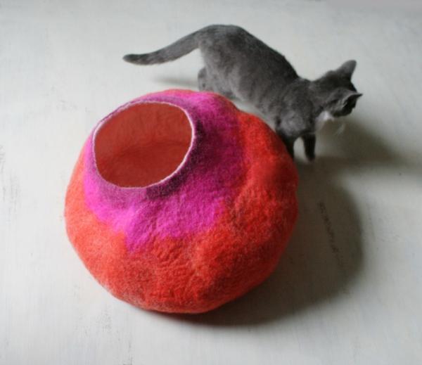 katzen und hunden häuser idee stoff rot rosa