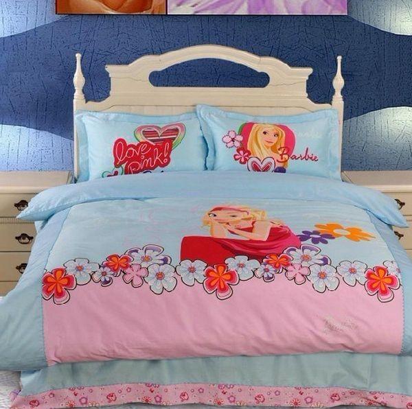kinder bettwäsche trends mädchen idee blau pink barbie decken