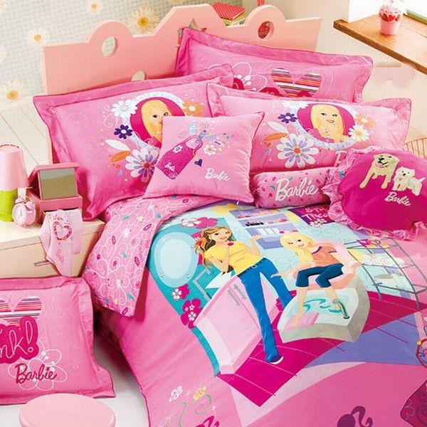 kinder bettwäsche trends mädchen idee  blau pink barbie lebhaft