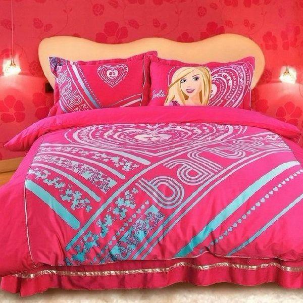 kinder bettwäsche trends mädchen idee pink barbie muster