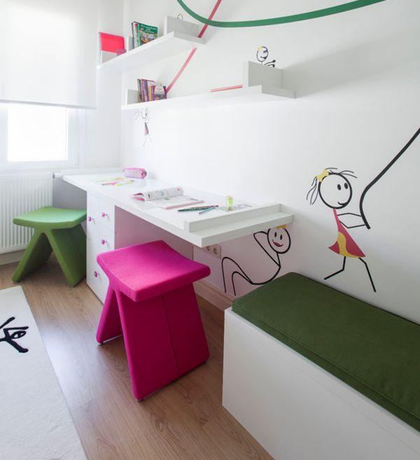 kinder schreibtisch designs eingebaut wand hocker pink grün