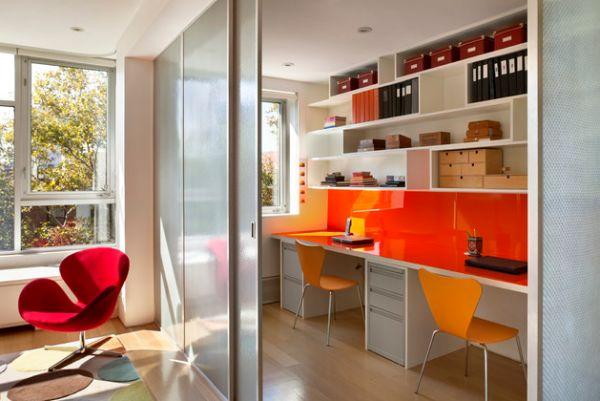 kinder schreibtisch designs eingebaut wand orange schiebetür glas