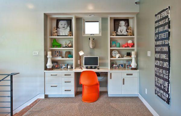 kinder schreibtisch designs eingebaut wand orange-stuhl schubladen