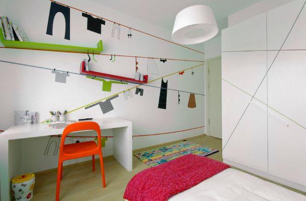 kinder schreibtisch designs eingebaut wand orange stuhl