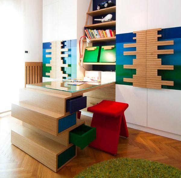 kinder schreibtisch designs holz kinderzimmer modern bunt modular