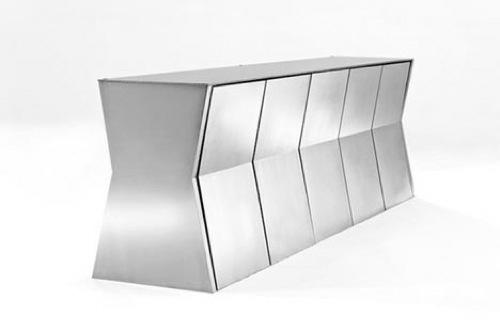klappen möbel designs kommode silbern glänzend