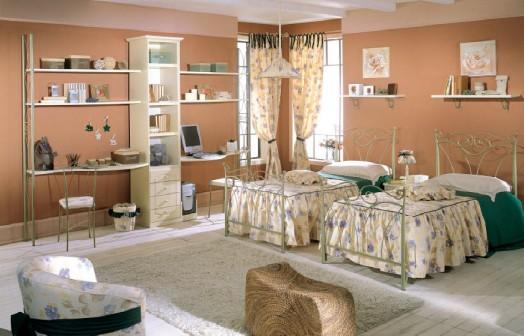 klassische kinderzimmer einrichtungen grün wände holz einzelbetten