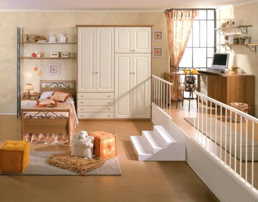 klassische kinderzimmer einrichtungen treppe geländer hocker orange