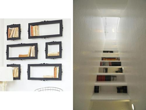 kreative bücher aufbewahrung idee hängen rahmen korridor treppe