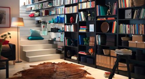 kreative bücher aufbewahrung idee hängen rahmen wandregale schwarz