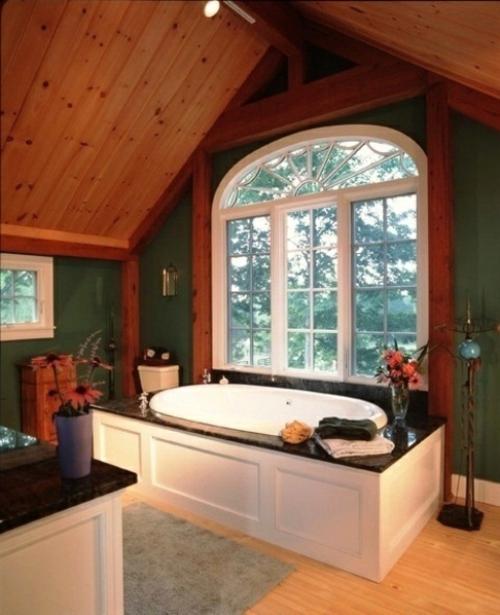 ländliche badezimmer design ideen rustikal fenster dach