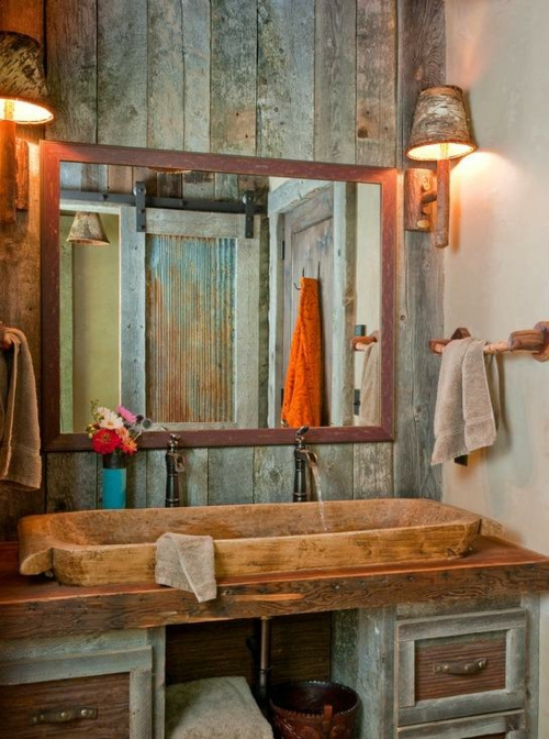 lndliche badezimmer design ideen rustikal holz originell interior - Holz Im Badezimmer