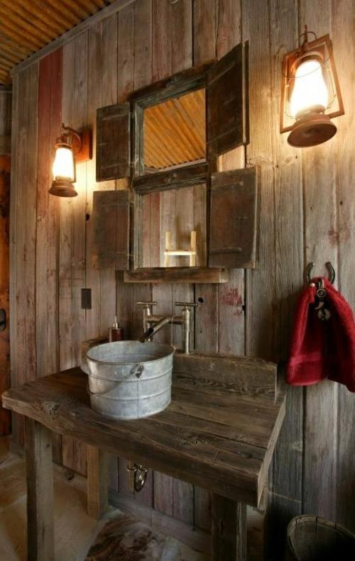 ländliche badezimmer design ideen rustikal holz originell waschbecken
