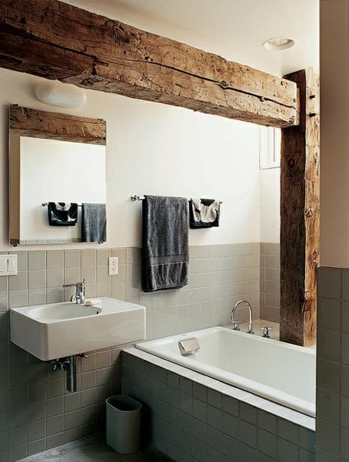 ländliche badezimmer design ideen rustikal weiß eingebaut badewanne