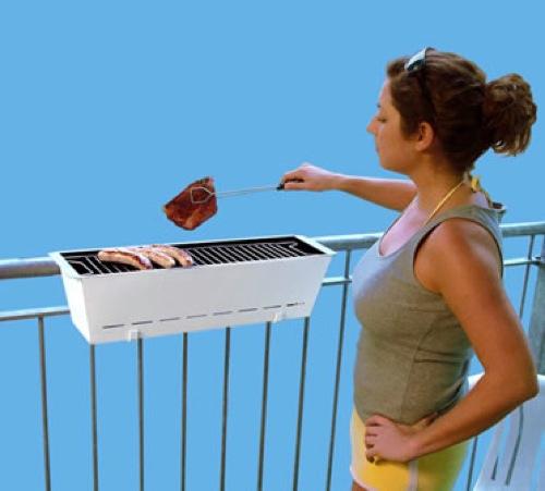 lustige praktische barbecue grills schiene balkon henrik drecker