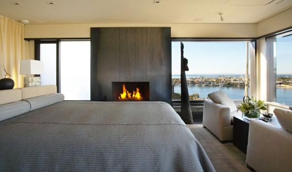 luxus apartment in kalifornien mit panorama fenstern feuerstelle bequem