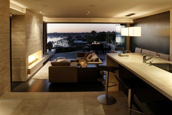 luxus apartment in kalifornien mit panorama fenstern holz wandgestaltung