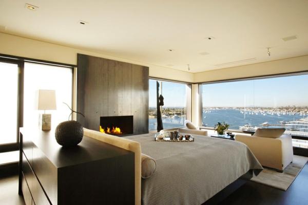 luxus apartment in kalifornien mit panorama fenstern schlafzimmer