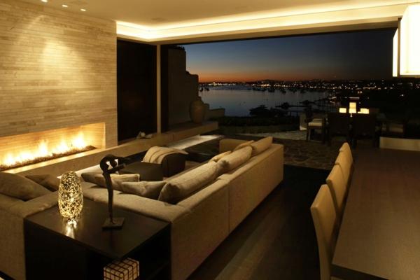 luxus ferienhaus mit modernem design weies wohnzimmer. wohnzimmer