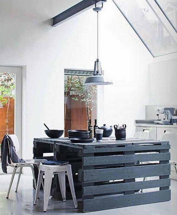 möbel aus holz paletten tischplatte schwarz esszimmer küchen insel