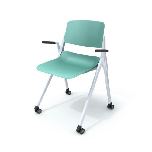ergonomische nachhaltige Schreibtisch Stühle rollen türkis farben