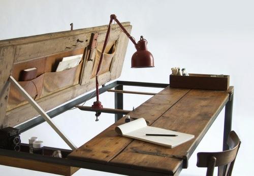 möbel designs aus antikem holz schreibtisch tischplatte tischlampe