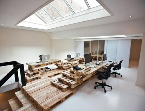 möbel holzpaletten dachfenster schreibtisch büro