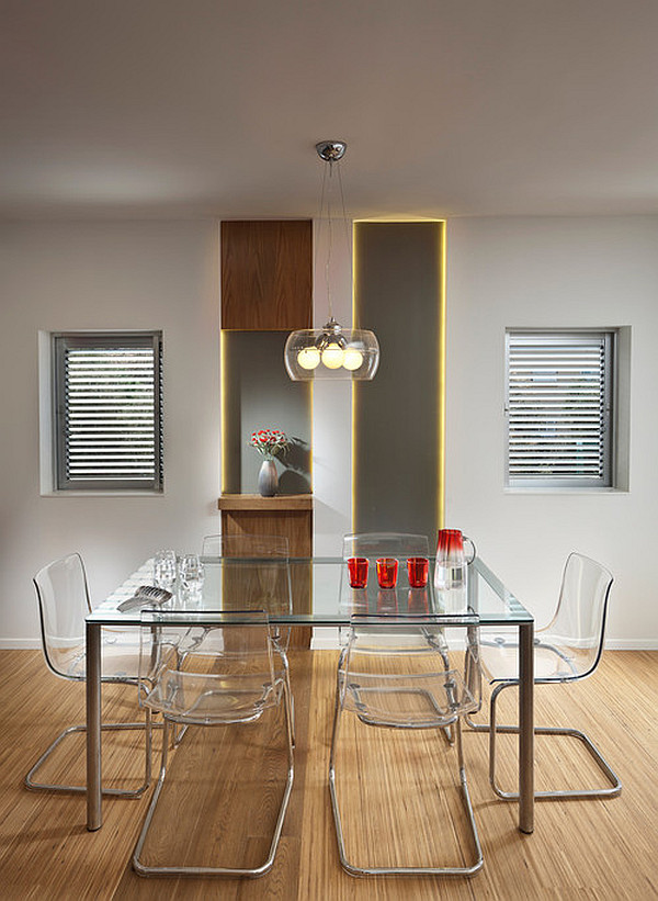 massive esstisch designs glas tischplatte acryl stühle rücklehne