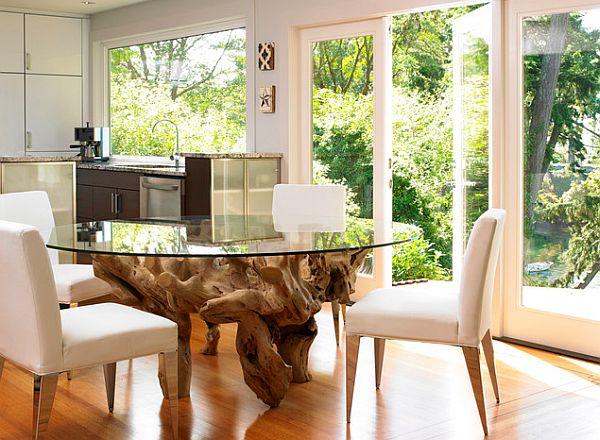 Esstisch glas holz rund  17 massive Esstisch Designs mit subtilem Reiz
