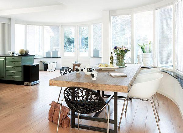 massive esstisch designs holz tischplatte küchenbereich