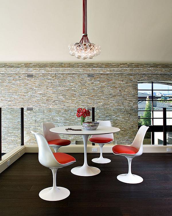massive esstisch designs plastisch modern oberflächen orange sitzkissen