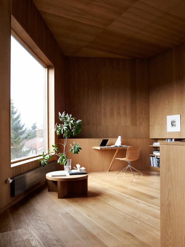 minimalistisch gestaltete sommer residenz kaffeetisch holz büro