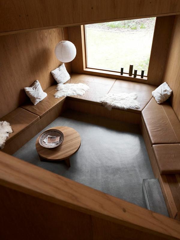 minimalistisch gestaltete sommer residenz leder sitzplatz fenster holz