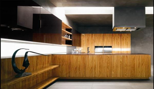 Schicke moderne Holz Küchen Designs decken beleuchtung indirekt
