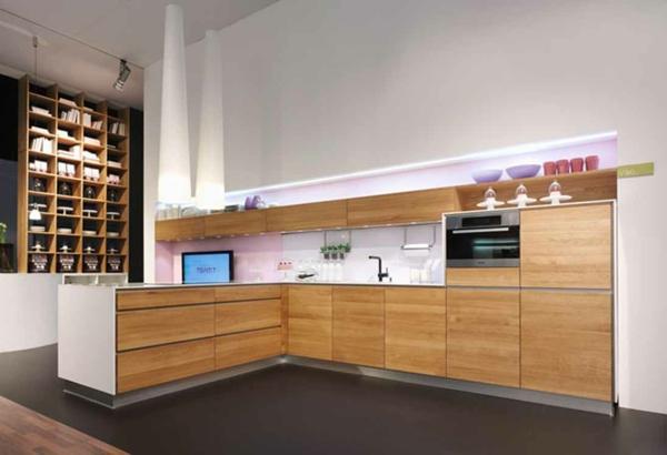 Schicke Moderne Holz Küchen Designs Einrichtung L Förmig Eingebaut