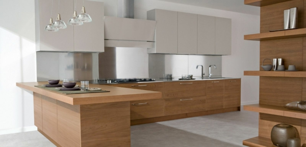 GroB Schicke Moderne Holz Küchen Designs Einrichtung Regale Möbel