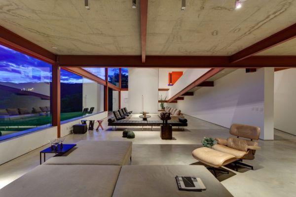 modernes brasilianisches haus fassade erdgeschoss relax liege