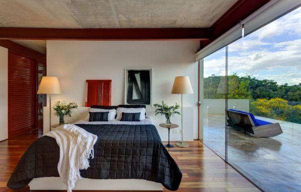elegantes brasilianisches haus schlafzimmer schwarz bettwäsche