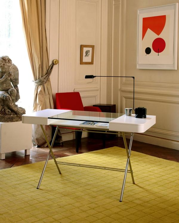 moderne homeoffice designs tischplatte glas rot sessel tischlampe