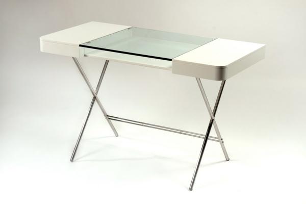 moderne homeoffice designs tischplatte glas tischbeine metallisch