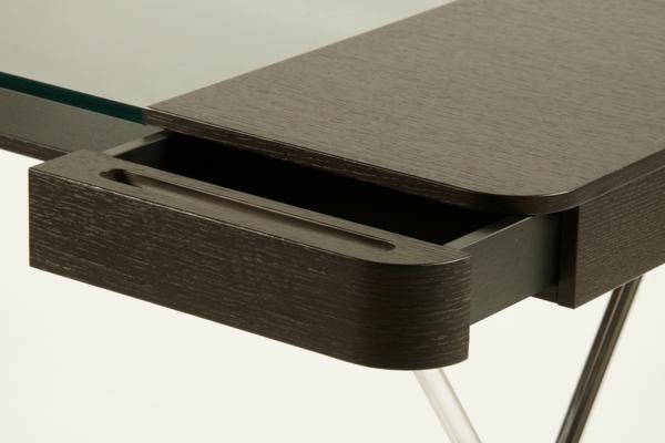 moderne homeoffice designs tischplatte holz dunkel glas schubladen