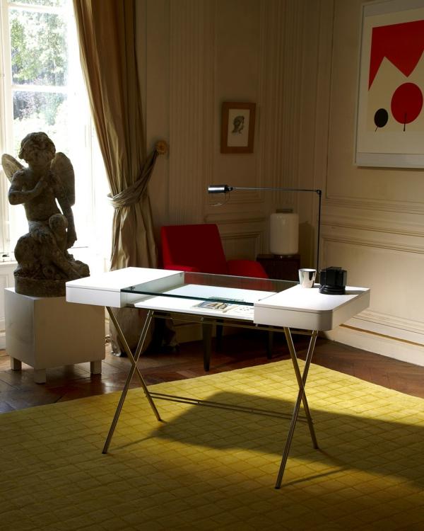 moderne homeoffice designs tischplatte weiß glas tischlampe