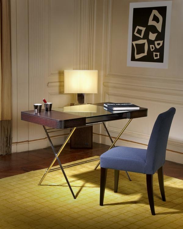 elegante home office designs tischlampe holz tischplatte glas