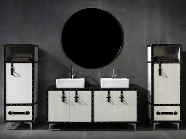 originelle badezimmer deko designer weiß möbel rund wandspiegel