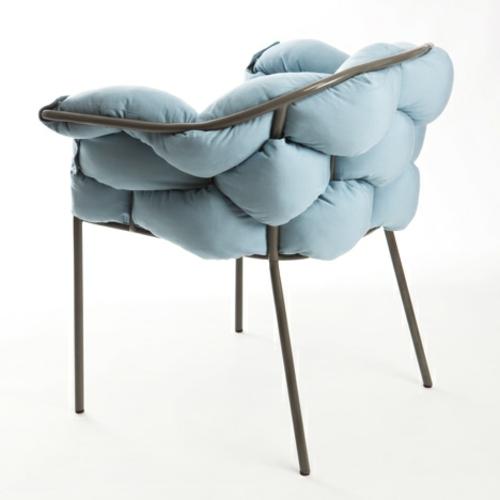 origineller outdoor stuhl metall kissen rahmen blau