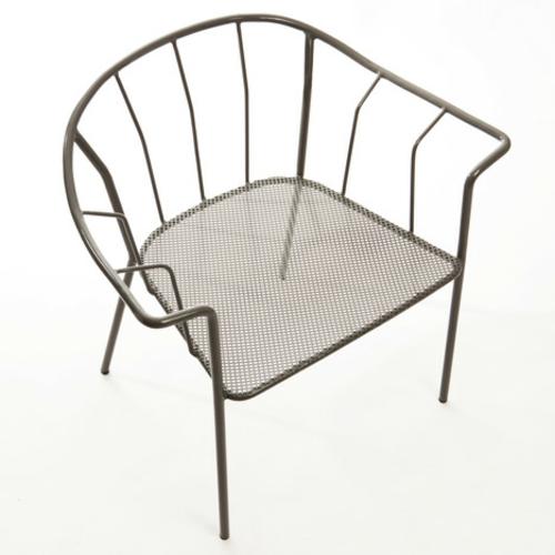 origineller outdoor stuhl metall rücklehne gitter sitzplatz